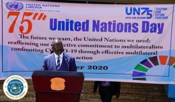 Dr. George Manneh Weah making remarks at the ceremony