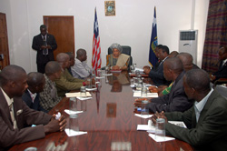 Members of opposition political parties in a meeting with President Sirleaf at the Foreign Ministry in Monrovia.