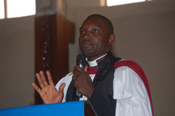 Rev. Dr. Herman Browne delivering the sermon at the Providence Baptist Church in Monrovia.