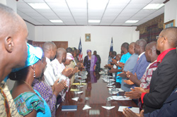 President Sirleaf in a meeting with educators at the Foreign Ministry in Monrovia.