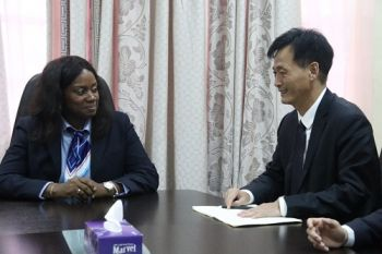 First Lady Clar M. Weah and Mr. Yang Ge, Head of Chinese Delegation