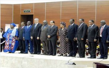 Members of the African Union � High Level Committee on Post 2015 Development Agenda (H.E. Mr. Mohamed Abdel Aziz, President of the Republic of Mauritania and Chairperson of the African Union, H.E. Mr. Abdelaziz Bouteflika, President of Algeria, H.E. Mr. Idriss Deby Itno, President of the Republic of Chad, H.E. Mr. Denis Sassou Nguesso, President of the Republic of Congo, H.E. Mr. Haile Mariam Desalegn, Prime Minister of Ethiopia, H.E. Mr. Alpha Conde, President of Guinea, H.E. Mr. Hifikepunye Pohamba, President of Namibia, H.E. Mr. Navinchandra Ramgoolam, Prime Minister of Mauritius and H.E. Mr. Jacob Zuma, President of the Republic of South Africa) with Dr. Nkosazana Dlamini Zuma, Chairperson of the African Union Commission