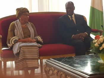 Her Excellency Pres. Sirleaf and His Excellency Pres. Quattara in Abidjan.