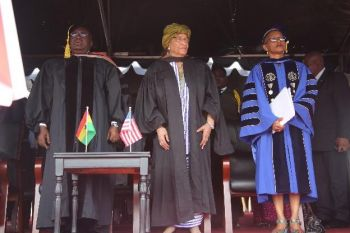 L-R Pres. AkufoAddo President Sirleaf and Dr. Weeks at 98th UL Commencement.