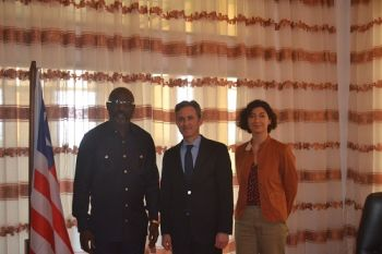 L-R President George M. Weah Special Rapporteur. David Kaye and Dr. Azin Tadjini - Human Rights Officer