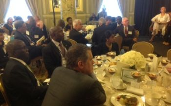 Liberia's Ambassador to the U.S. Solonteh (2nd left) and Foreign Minister Ngafuan (3rd left) among the guests at the Open Society Foundations luncheon