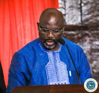 Liberian Leader, Dr. George Manneh Weah addressing the 54th Legislature second sitting opening program