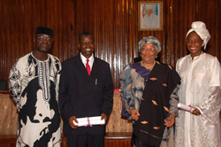 President Sirleaf and the newly commissioned Foreign Service officers  at the Foreign Ministry in Monrovia.