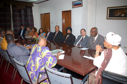President Sirleaf and Chamber of Commerce Members