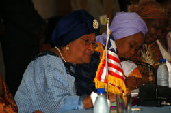 President Sirleaf addressing Women Forum
