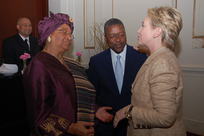 President Ellen Johnson Sirleaf, Billionaire Bob Johnson and Senator Hilary Clinton.