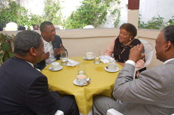 President Sirleaf and her guests hold a breakfast meeting at her residence in Sinkor.