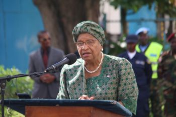 President Ellen Johnson  Sirleaf  makes remarks at international Day of United Nations Peacekeepers.