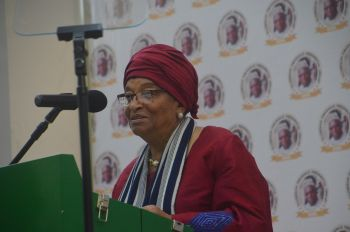 President Sirleaf Chairperson of ECOWAS and the Occasion makes remarks.