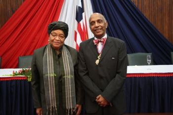 President Sirleaf Admits Dr. Rao into The Order of The Star of Africa with the Grade of Commander.