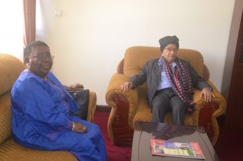President Sirleaf and Foreign Minister Marjon Kamara at Liberian Embassy Addis.