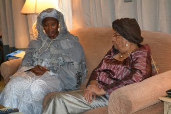 President Sirleaf and the Gambian Vice President FoutomataTambajang during the meeting in Ethiopia.