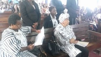President Sirleaf at the funeral of thee late EPS boss.