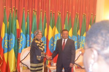 President Sirleaf in a handshake with H.E. Dr. Mulatu Teshome - President of the Federal democratic Republic of Ethiopia.