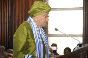 President Sirleaf makes remarks at  Supreme Court.