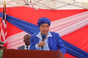 President Sirleaf makes remarks at  ground breaking ceremony.