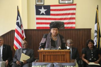 President Sirleaf makes remarks following the dedication of the Eighth Judicial Circuit Court