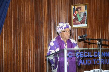 President Sirleaf making remarks at  program in observance of Africa Day in Monrovia.