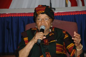 President Sirleaf making remarks during an engagement meeting with Liberian female candidates.