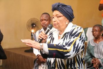 President Sirleaf making remarks in West Point.