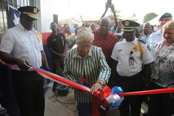 President Sirleaf performs ribbon-cutting ceremony of the newly constructed Zone 6 Police Station in Brewerville