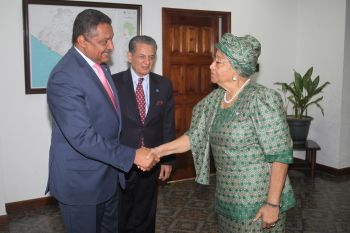 President Sirleaf receives newly appointed Deputy SRSG Yacoub El Hillo as SRSG Zarif looks on.
