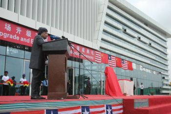 President Sirleaf speaking during pre-dedication ceremony of the new and modern terminal at RIA.