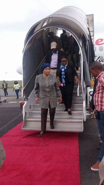 President Sirleaf upon arrival from the Republic of South Africa.