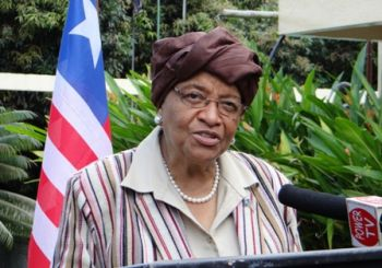 President Sirleaf, delighted at Mr. Tony Blair's visit, welcomes him to Liberia in the midst of the Ebola crisis on Wednesday, November 12, 2014.