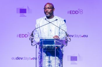 President Weah Addressing EU Development Days 2018 in Brussels.