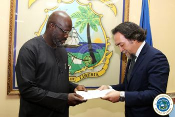 President Weah Receives Letter of Credence from the Ambassador of Italy, H E Stefano Lo Savio.jpg