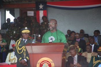 President Weah Speaking during the Arm Forces day program.