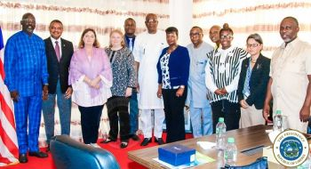 President Weah and Cabinet Ministers pose with the Head of the UN Country Team in Liberia, Yacoub El Hillo and others following the meeting