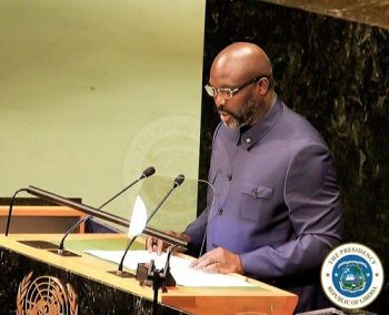 President Weah delivering a special statement on Monday September 24 2018 at the Nelson Mandela Peace Summit at the United Nations Headquarters in Ne
