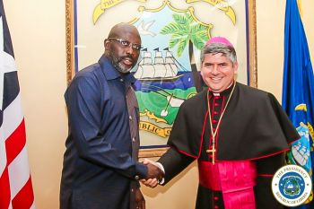 President Weah greets Apostolic Nuncio at the Ministry of Foreign Affairs