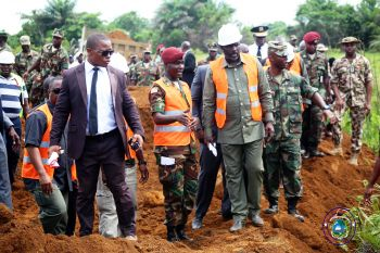 President Weah inspects road at the site for the construction of the 14-Military Hospital.