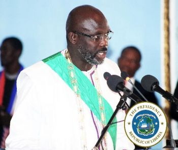 President Weah making remarks at the ceremony