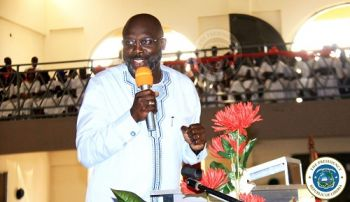 President Weah speaking at the Thanksgiving service for the celebration of his government's one year in office