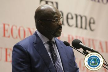 President Weah officially opening the Economic Dialogue