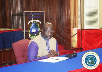 President Weah opening the Cabinet Meeting held in the Cecil Dennis Auditorium at the Ministry of Foreign Affairs