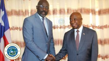 President Weah shakes hands with former Vice President, Amb. Joseph Nyumah Boakai following a meeting on wide range of national issues