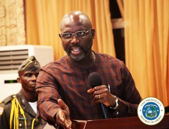 President Weah speaking at LIBA Anniversary Ceremony