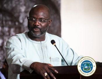 President Weah speaking at the dedication of the Capitol Building Annexes built by China