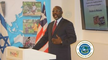 President Weah speaks at the MASHAV, which is Israel's Agency for International Development Cooperation