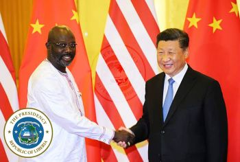 Presidents Xi Jinping and  George Manneh Weah